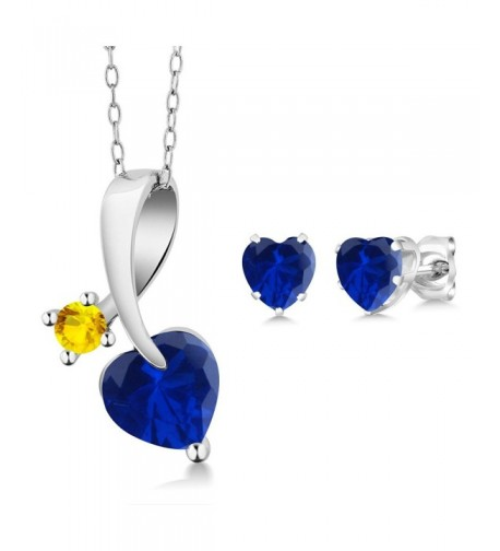 Simulated Sapphire Sterling Pendant Earrings