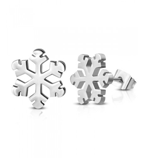 Stainless Steel Snowflake Flower Earrings