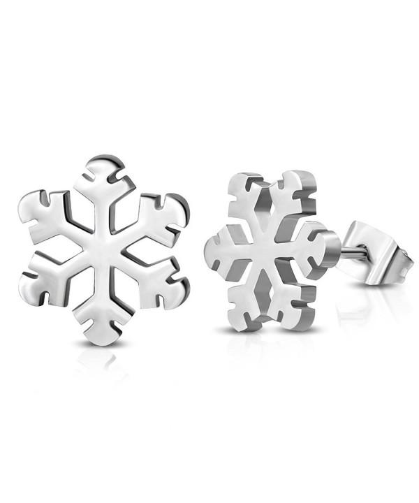 Stainless Steel Snowflake Flower Earrings