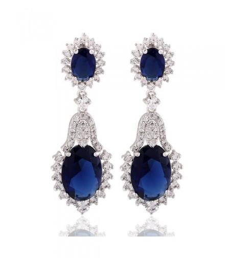GULICX Vintage Design Sapphire Earrings