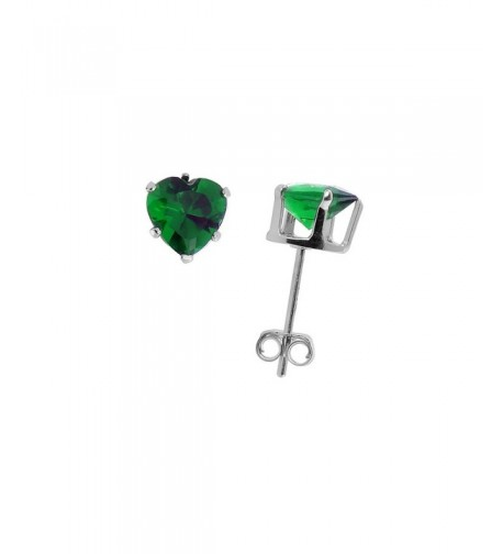 Sterling Silver Zirconia Emerald Earrings