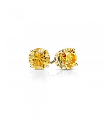 Plated Genuine Gemstone Citrine Earring