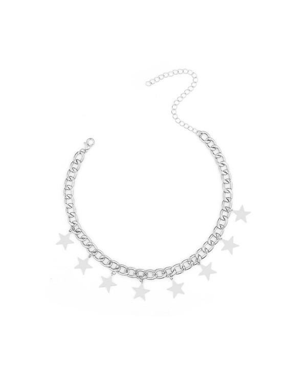 CrazyPiercing Dangling Choker Necklace Silver