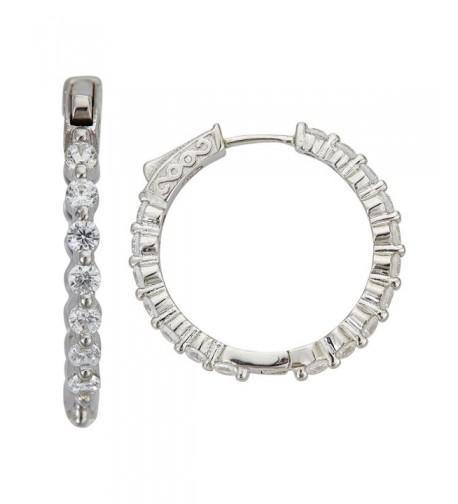 Sterling Silver Zirconia 2 5x25MM Earring