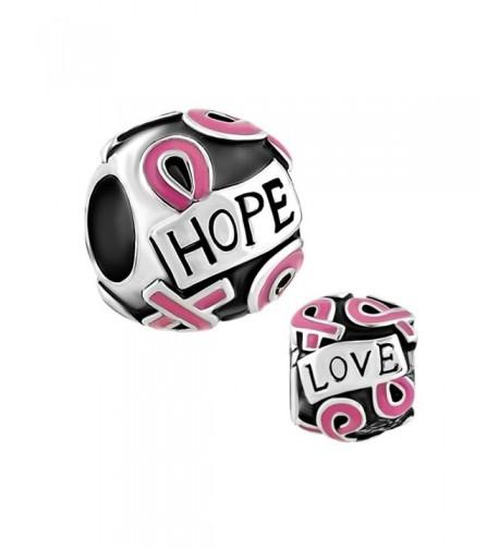 LovelyCharms Ribbon Breast Cancer Bracelets