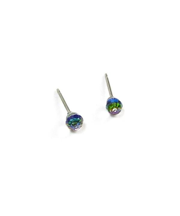 Vitrail Medium Faceted Ball Swarovski Crystal Element Stud Earrings 4mm Cc115brhiil