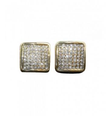 CUSTOM DIAMOND SIMULATE SQUARE EARRINGS