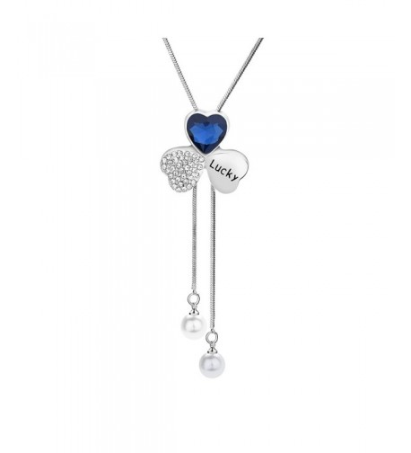 Heart shaped Shamrock Sweater Necklace Crystal