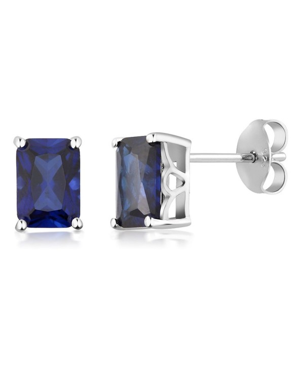 Sterling Simulated Sapphire Earrings Emerald