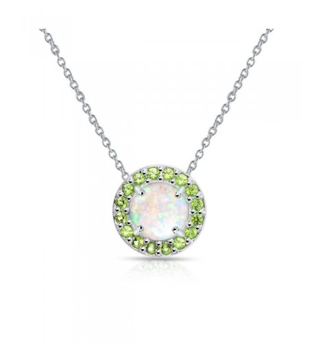 Sterling Silver Simulated Peridot Necklace