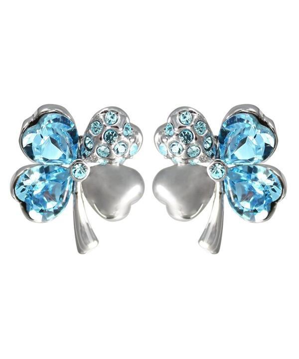 3be9100d157a7 Four Leaf Clover Heart Shaped Swarovski Elements Crystal Rhodium Plated  Stud Earrings Blue C61108EN1G5