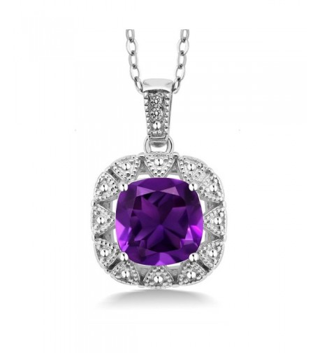 Cushion Amethyst Diamond Sterling Pendant