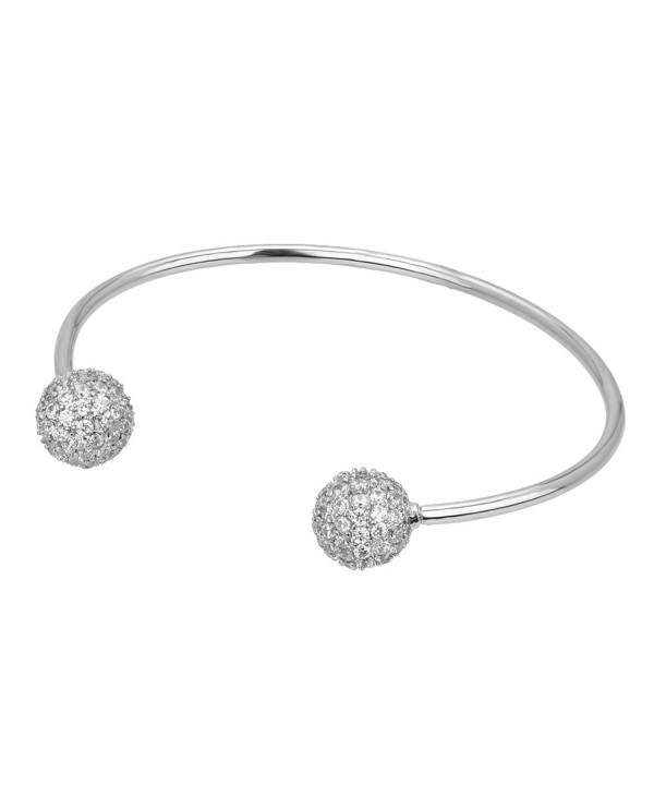 Pave Ball Open Bangle Silver