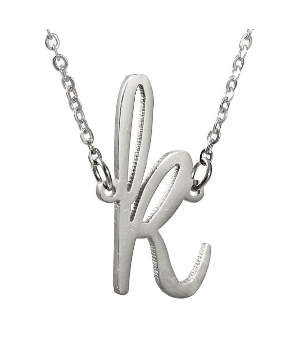Stainless Womens Initial Pendant Necklace