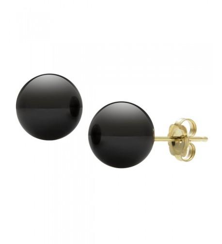 14kt Yellow Gold Black Earrings
