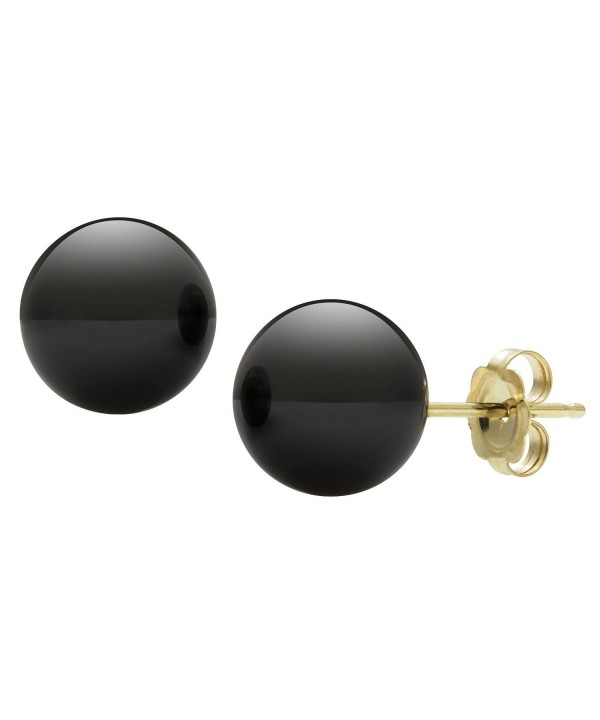 14kt Yellow Gold Black Earrings
