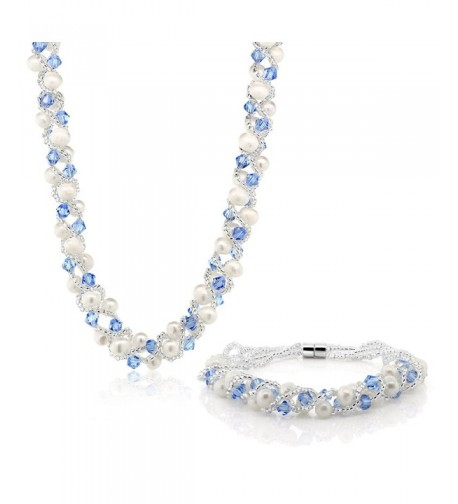 Cultured Freshwater Crystal Necklace Bracelet
