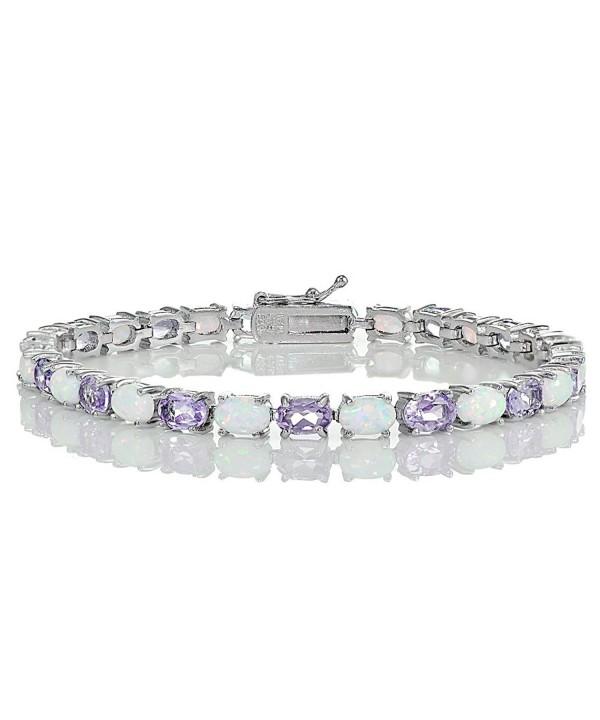Sterling Silver Amethyst Created Bracelet