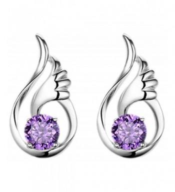 Wonvin Silver Amethyst Crystal Earrings