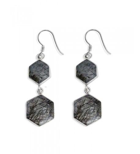 Sterling Silver Hexagon Rutilated Earrings