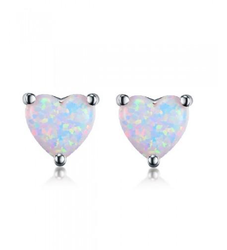 GEMSME White Plated Created Earrings