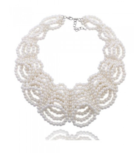 Kalse Simulated Statement Necklace White Cluster