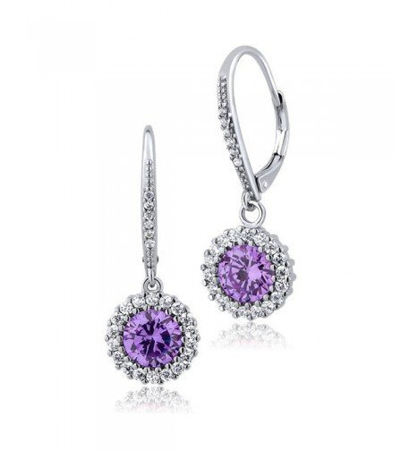 Stunning Round Lavender Zirconia Earrings