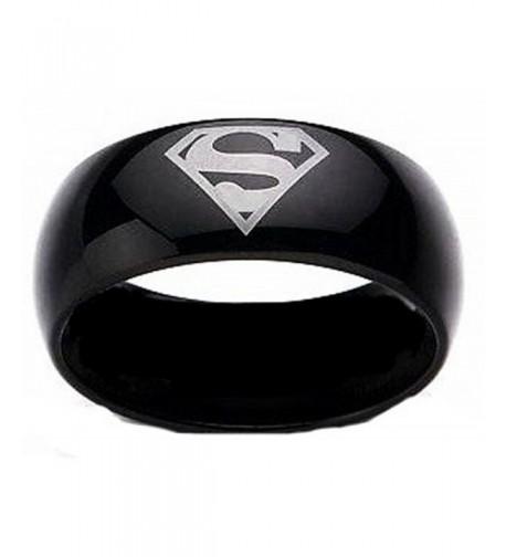 Superman Print Black Tungsten Carbide