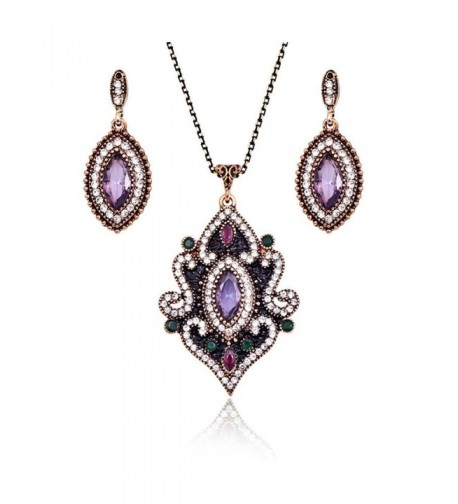 LUYUAN Vintage Gemstone Pendant Necklace