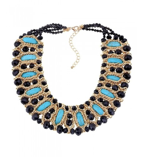 Crystals Moon shape Turquoise Statement Necklace