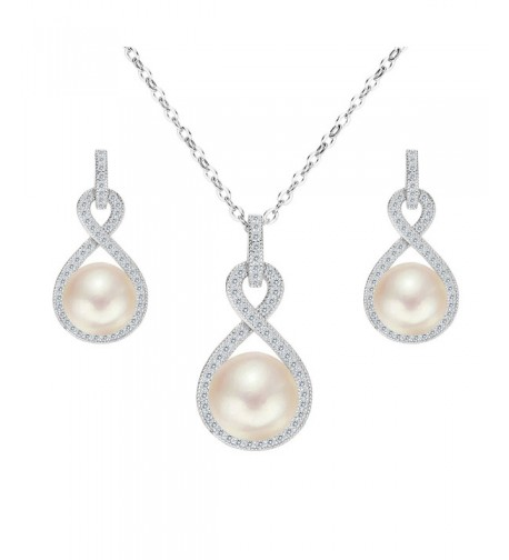 EleQueen Sterling Freshwater Cultured Necklace