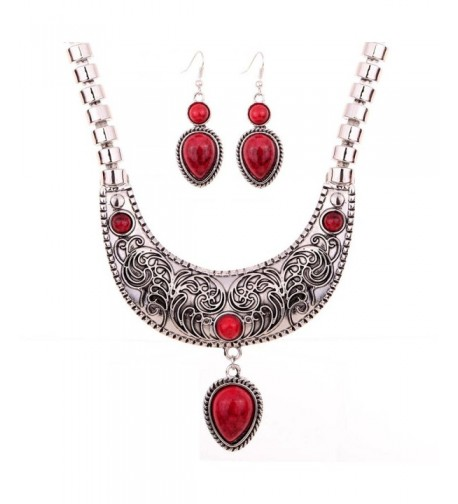 YAZILIND Waterdrop Statement Necklace Earrings