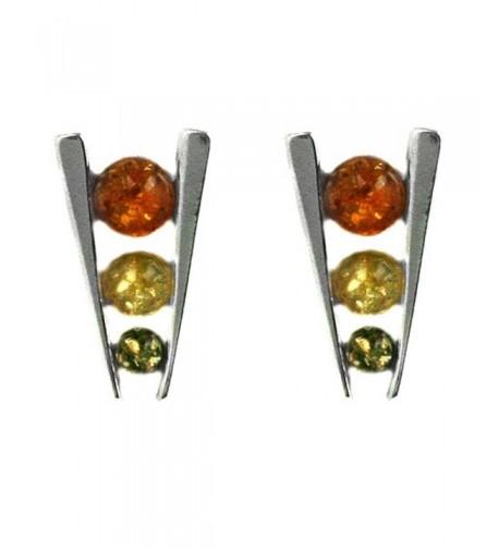 Multicolor Sterling Silver Triple Earrings