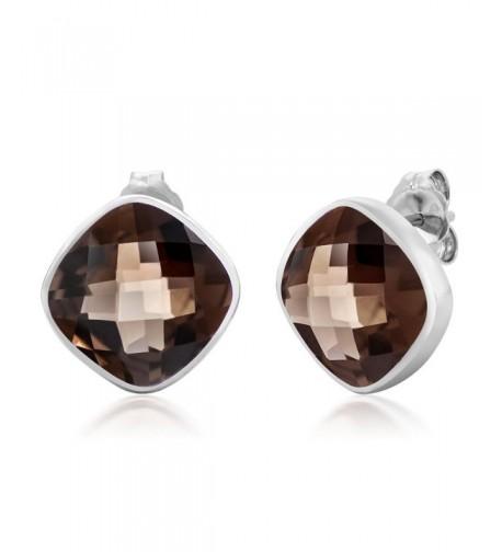 Sterling Silver Gemstone Cushion Earrings