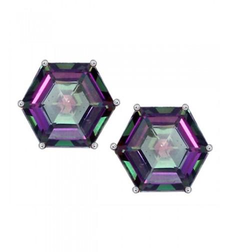 Star Octagon Earrings Rainbow Sterling