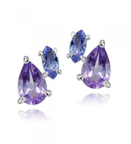 Sterling Amethyst Tanzanite Friendship Earrings