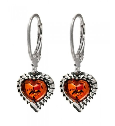 Sterling Silver Amber Leverback Earrings