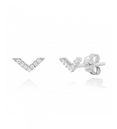 Rhodium Sterling V Arrow Minimalist Earrings