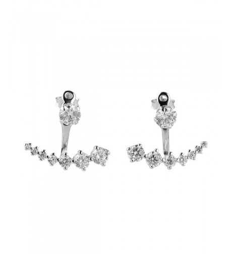 Sterling Silver Square Zirconia Earrings
