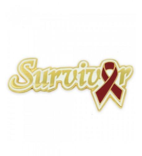 PinMarts Burgundy Awareness Ribbon Survivor