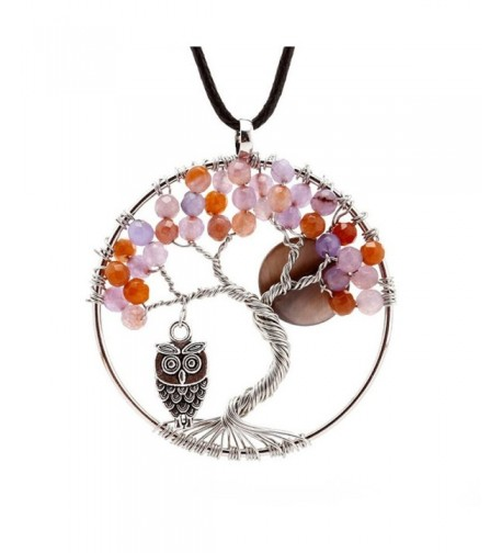 Natural Amethyst Tree Pendant Necklace