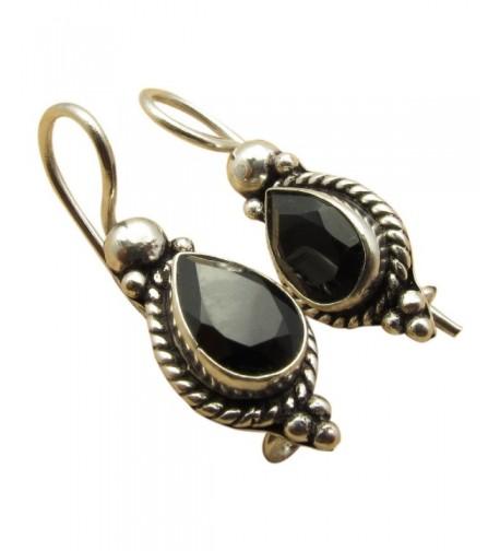Sterling Oxidized Teardrop Earrings Gemstones