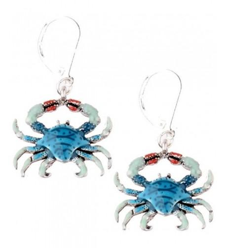 Blue Crab Dangle Silver Earrings