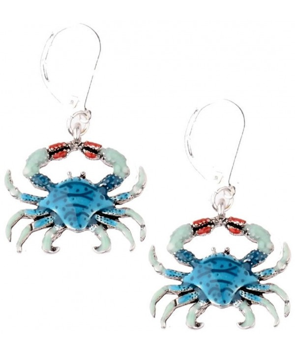 Blue Crab Dangle Silver Earrings