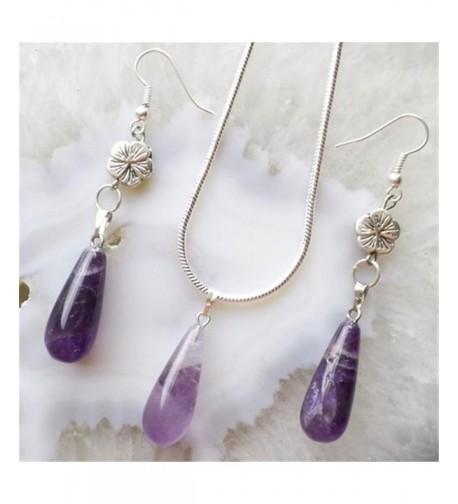 Fashion Amethyst Teardrop Necklace Earrings