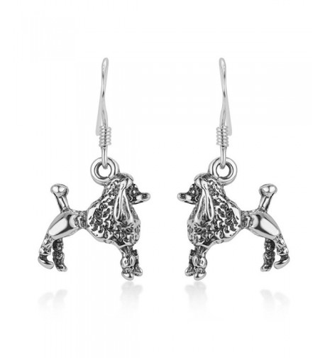 Oxidized Sterling Silver Poodle Earrings