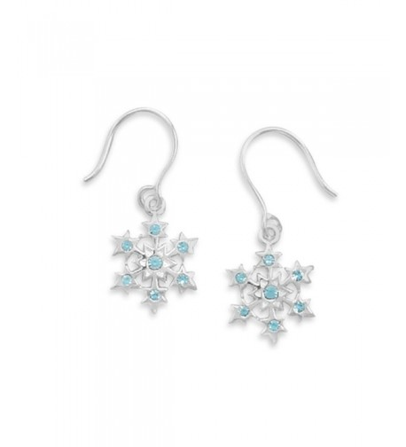Snowflake Crystal Earrings Sterling Silver