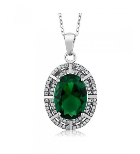 Sterling Simulated Emerald Pendant Necklace