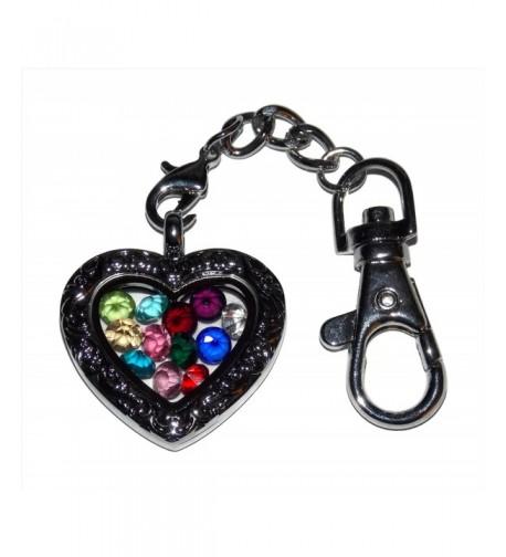 Floating Locket Keychain Birthstone Birthstones
