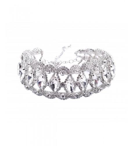 Qiaose Oval Cut Crystal Rhinestone Necklace